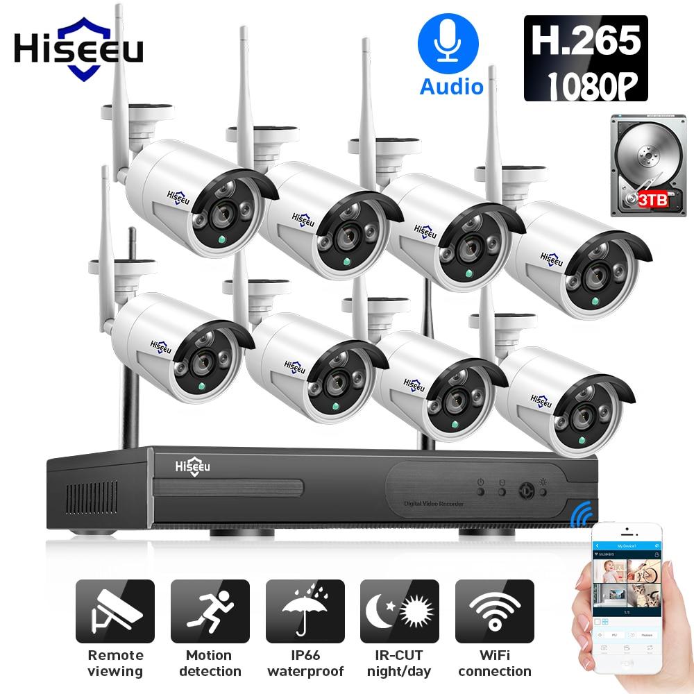 2MP 1080P CCTV System 8ch HD Wireless NVR Kit 3TB HDD Outdoor IR Night Vision IP Wifi Camera Security System Surveillance Hiseeu