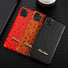 Luxury Brand Ostrich Imitation Leather Phone Case For iphone 11 Pro XS Max XR 6 6S 7 8 Plus Skin Pattern Hard Protective Cover