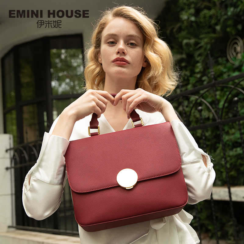 EMINI HOUSE Women Padlock Top-Handle Bags Split Leather Hand Bag Ladies Luxury Handbags Bags Designer Shoulder Bag Women