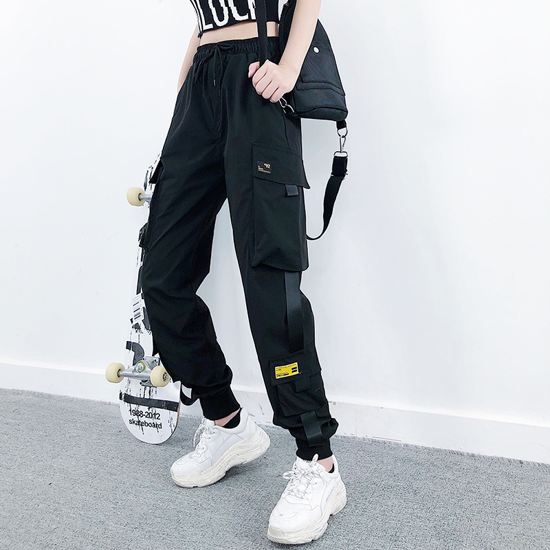 Women Fashion Streetwear Cargo Pants Black Ankle Length Elastic Waist Joggers Female Loose Trousers Casual Plus Size Haren Pants title=