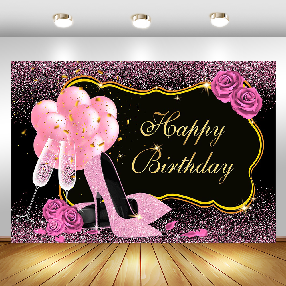 Happy Birthday Flowers Backdrop Golden Balloon Heels Photography Background Elegant Lady Rose Floral Birthday Party Backdrops Aliexpress