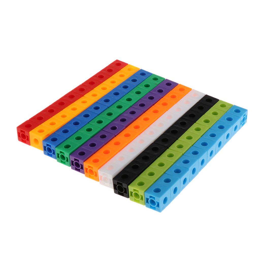 100 Pieces Mathematics Linking Cubes  Interlocking Counting Blocks Kids Learning Toys