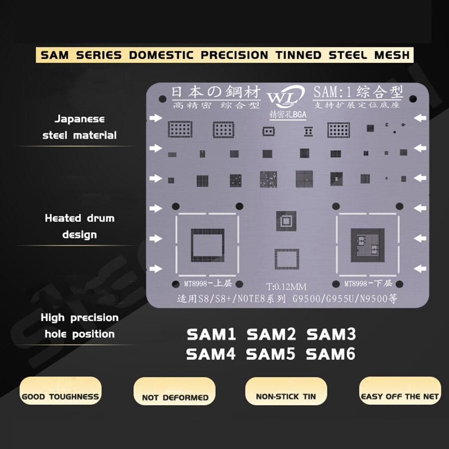 Plant Tin Steel Net For Samsung S6 S6+ S8 S8+ S7 S9 S9+ Note C7 J3 J5 A5  BGA Reballing Stencil Kit Tin Mesh Solder Template