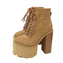 PRETO BRANCO Womens Martin Boots Thick Super with High-heeled Ankle Platform Lace Up Casual Shoes .JXQ-7863