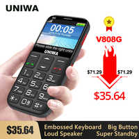 UNIWA V808G Strong Torch Push-Button Loud Cellphone Big SOS 3G English Russian Keyboard 10 Days Standby 3G WCDMA Senior Mobile