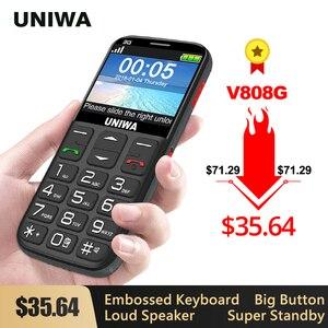 UNIWA V808G Strong Torch Push-Button Loud Cellphone Big SOS 3G English Russian Keyboard 10 Days Standby 3G WCDMA Senior Mobile(China)