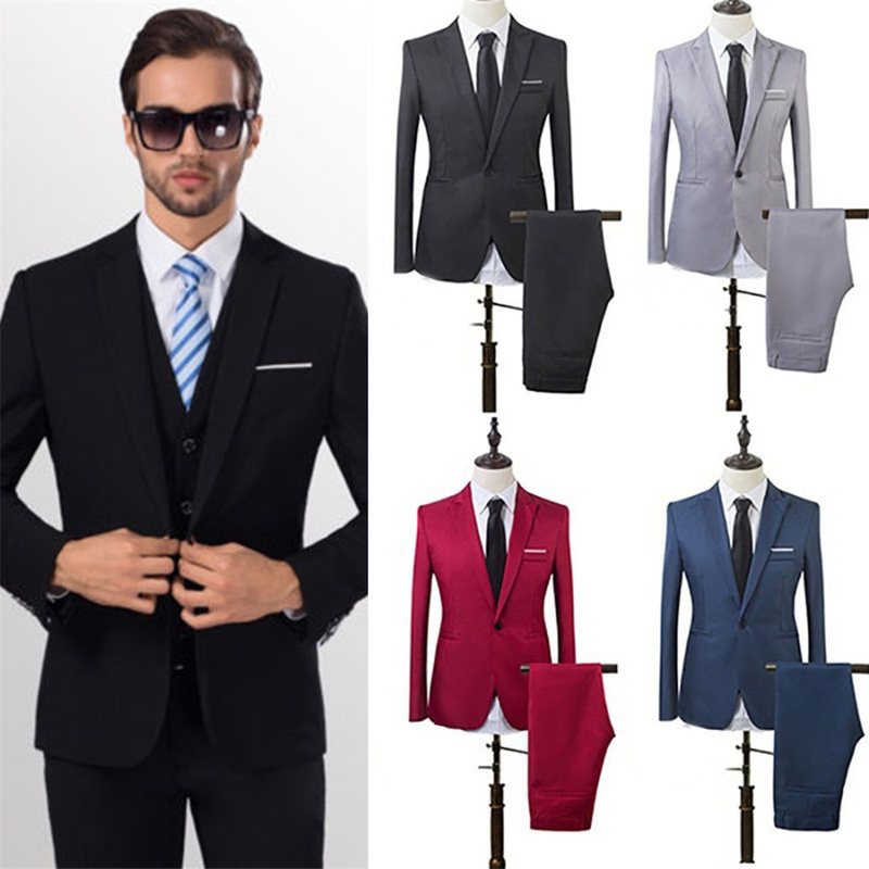 Helisopus New Men's Business Suits Spring Autumn Fashion Casual Suit Jacket And Pants Wedding Groom Slim Fit Formal Suit 5 Sizes