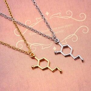 Молекула серотонина химии геометрической формы в виде многоугольника, кулон ожерелье допамин любовь украшения для рождественской вечеринки подарок для Girt