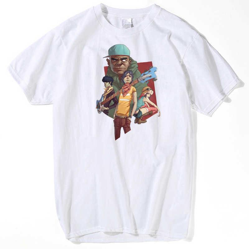 Lus Los 새로운 t-셔츠 Gorillaz 음악 밴드 t-셔츠 o-넥 반팔 여름 캐주얼 패션 여성 Tshirt 2020