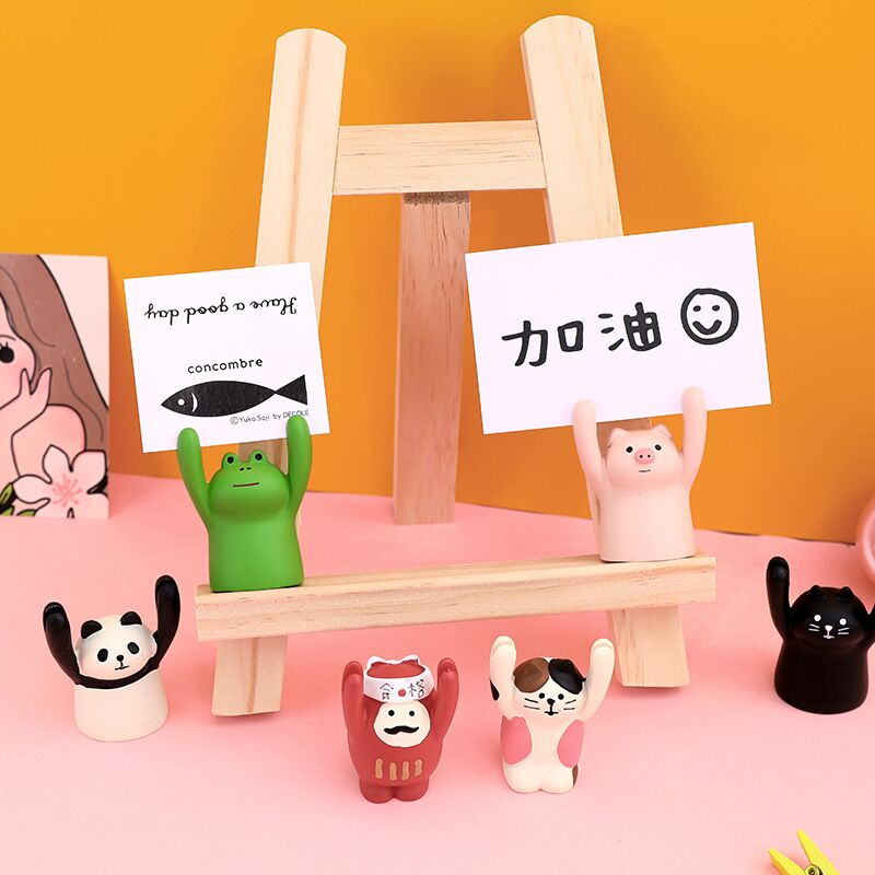 Sharkbang Kawaii Pig Frog Animal Photo Memo Card Clip Holder Desk Name Card Wedding Favors Place Card Clip Note Stand Holder