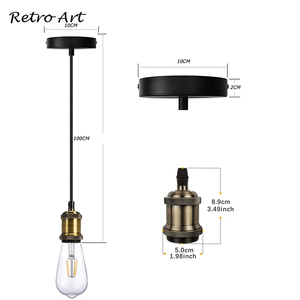 Image 3 - Prosty wisiorek zestaw oświetleniowy E27 uchwyt lampy z przewód tekstylny drutu i sufit wstał zestaw przewodów do Lamp