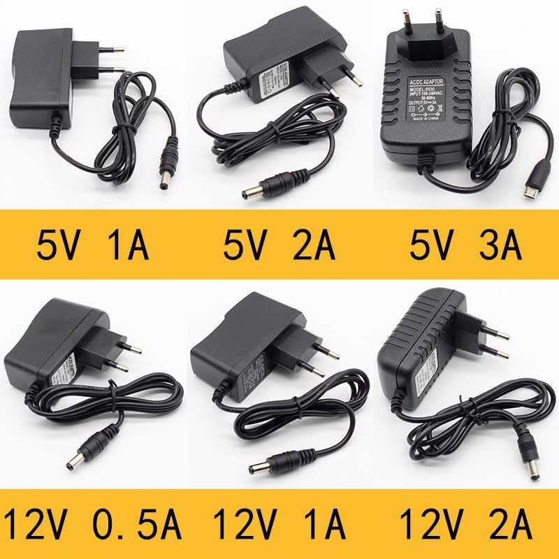 1 stücke 100-240V AC zu DC Power Adapter Versorgung Ladegerät adapter 5V 12V 1A 2A 0.5A EU Stecker 5,5mm x 2,5mm/5v3aDC Stecker Micro USB