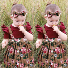 Get more info on the Newest baby girl clothes Baby Short Sleeve Suspender Skirt Outfit +Headband baby girl clothes set kiz bebek giyim 9.9
