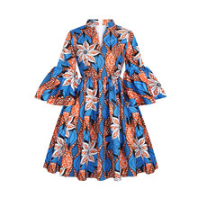 Womens African Ankara Print Maxi Dress Traditional Casual Outfits Attire 2021 Fashion Lotus Sleeve V Neck African Dresses Women