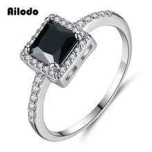 Ailodo Vintage Black Square CZ Rings For Women Simple Fashion Party Wedding Crystal Jewelry Femme Bijoux Girls Gift LD392