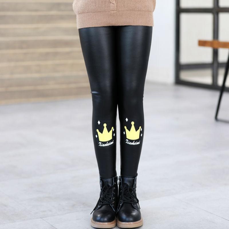 Girls Faux PU Leather Leggings Winter Thick Fleece Lined Skinny Pants Cartoon Print Kids Stretchy Legging Black 2
