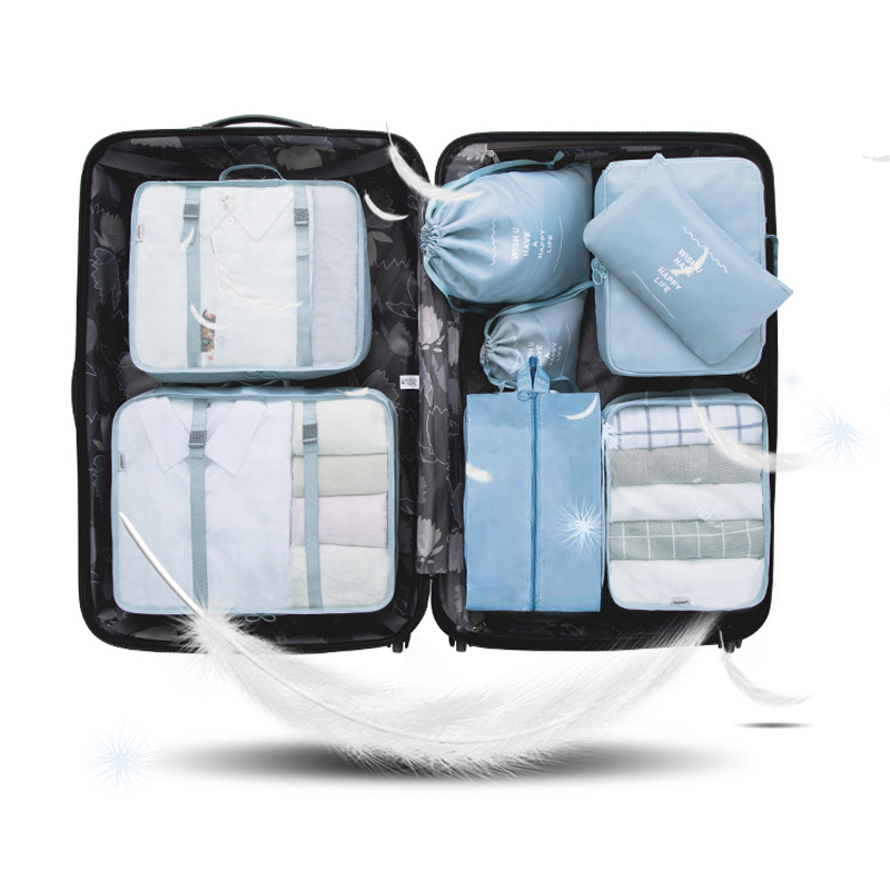 8Pcs/Set Travel Organizer Packing Cubes Luggage Travel Accessories Bag Organizer High Quality Double Zipper Waterproof Tote Bags
