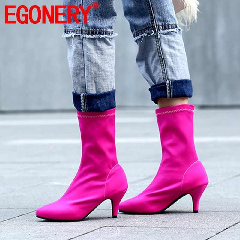 EGONERY stretch tuch booties mode frühjahr herbst 6,5 cm high heels frauen schuhe rot blau grau schwarz partei wies toe booties