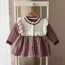 תינוק בנות סרוג שמלת 2019 סתיו חורף בגדי ילדים פעוט חולצות חולצות לילדים ילדה נסיכת כותנה חג המולד שמלות