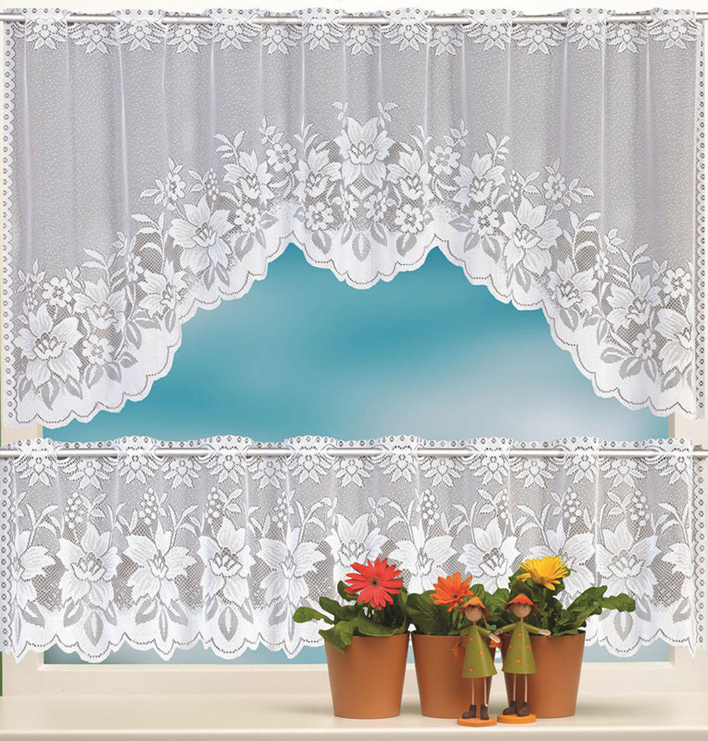 Enipate 2PCS European White Translucent Coffee Curtain Warp Knitted Curtains Kitchen Tulle Lace Sheer Jacquard Bedroom Curtains