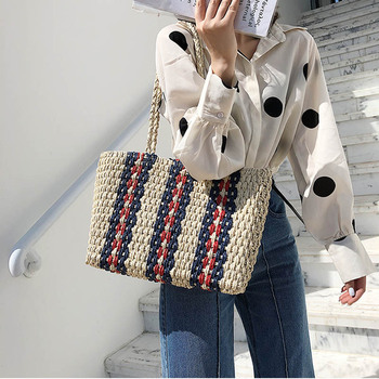fashion striped straw bags casual rattan large women totes wicker woven female handbags shoulder summer beach travel purses - discount item  38% OFF Women's Handbags