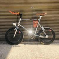 Bicicleta vintage de 20 pulgadas, bicicleta de marcha única fixie, retro, plateada, con luz