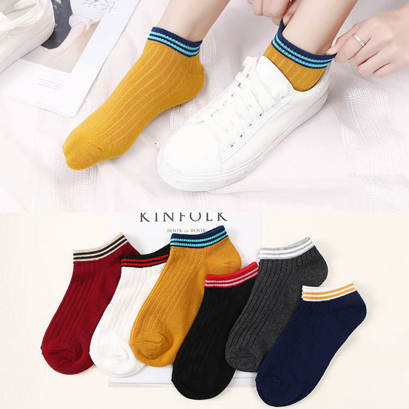 Comfortable Cotton Boat Bock Men women's Socks Ankle Low Female Invisible Color Unisex Girl Boy Hosiery Ladies Stripe Sock New