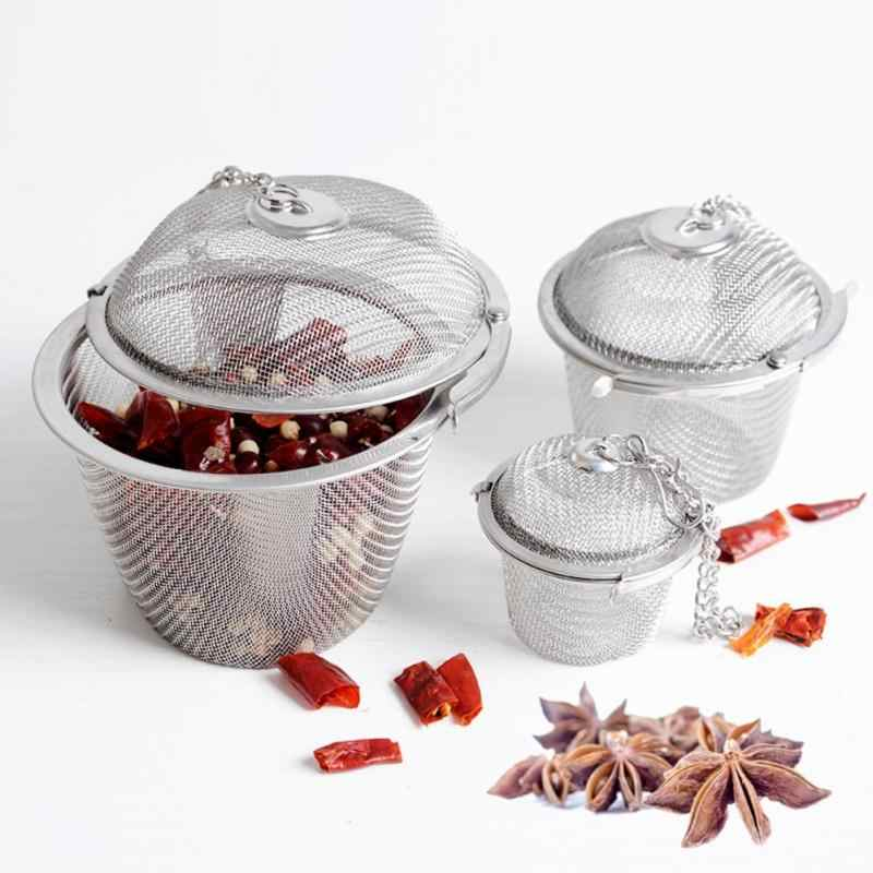 S/M/L Dapur Filter Saringan Teh Herbal Infuser Mengunci Reusable Teh Filter Bola Stainless Steel Bumbu Bola