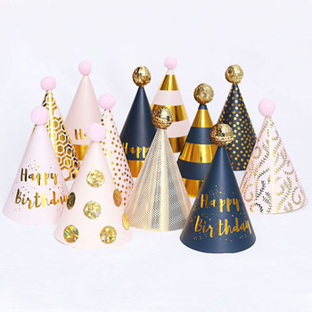 3pes/set Happy Birthday Party Paper Decorations kids Hats cap DIY Crown Cap Child Decoration Gifts Supplies
