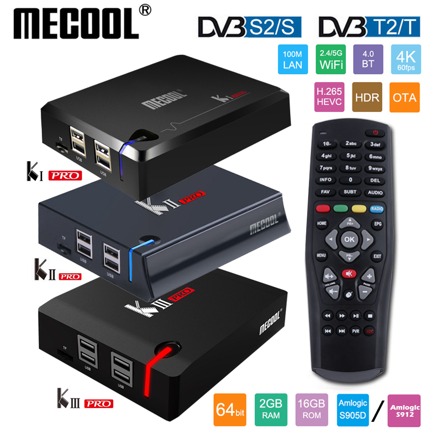 MECOOL KI Pro KII KIII Pro DVB T2 + S2 Android TV Box 3G 16G Amlogic S912 DDR4 Octa Core 4K décodage 2.4G + 5G décodeur lecteur multimédia