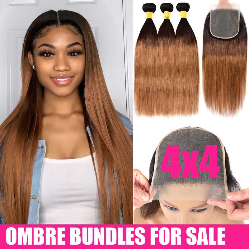 Honey Blonde Ombre Straight Hair Bundles With Closure Human Hair 3 4 Bundles With Closure Remy Brazilian Hair Weave Bundles