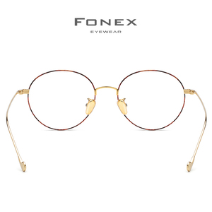 Image 5 - FONEX Pure Titanium Glasses Frame Men Round Prescription Eyeglasses Eyewear Vintage Myopia Optical Eye Glasses Women Spectacles