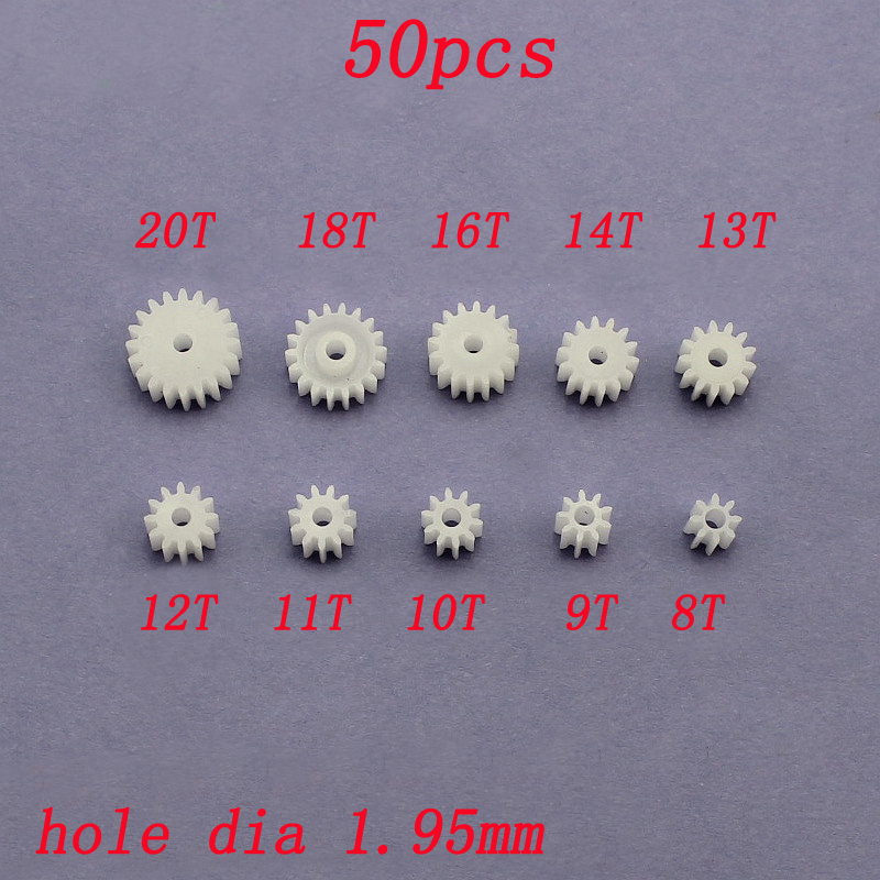 50pcs 8T 9T 10T 11T 12T 13T 14T 16T 18T Main Axle Gear Module 0.5 Hole Dia 1.95mm Plastic Mini Gears Shaft Connecting Adapter