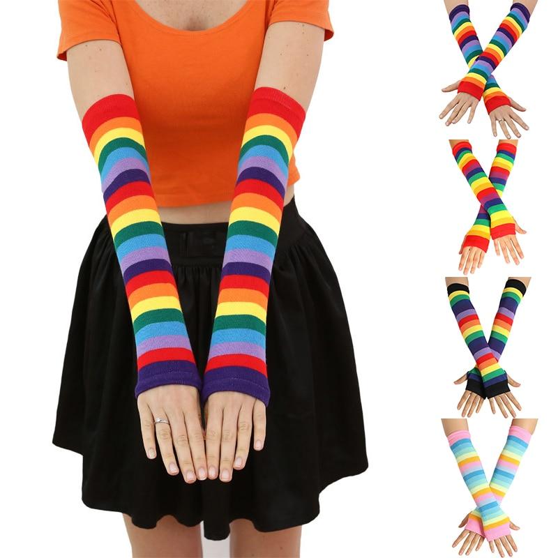 Women Rainbow Striped Long Sleeve Sunscreen Arm Sleeve Girls Fingerless Mittens Gloves Slim Thigh High Leg Warmer Cotton Spring