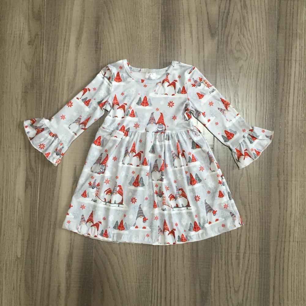 Exclusive Girlymax Christmas Tree Girls Children Clothes Baby Deer Winter Long Sleeve Ruffle Gingerbrea Milk Silk Dress Boutique 2