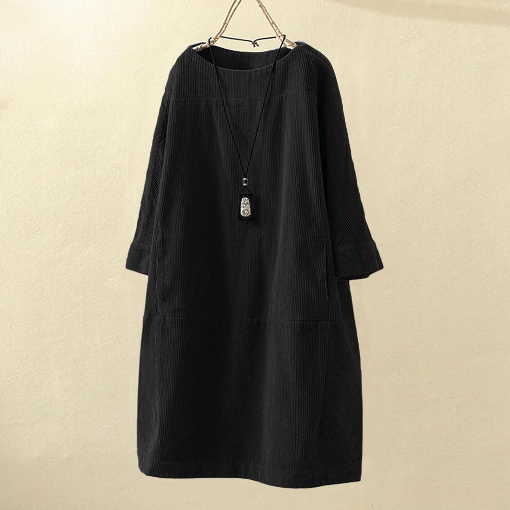 Женское винтажное вельветовое одноцветное платье с карманами и длинным рукавом свободного покроя размера плюс 5XL ropa mujer jurken grote maten@ 45 - Цвет: 4