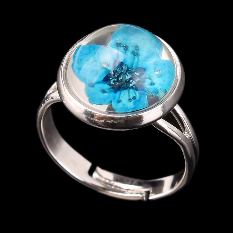 Set of 3 Resin Rings With Pressed Flowers Clear Ring Band Thin Ring