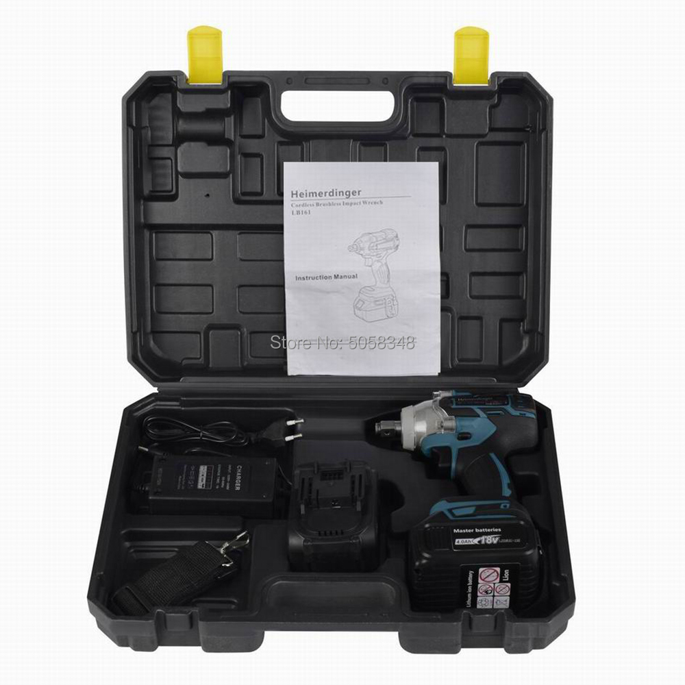 Electric Rechargeable Brushless Impact Wrench Cordless With Two 18V 4.0Ah Lithium Ion Battery