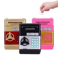 Mealheiro automático atm senha caixa de dinheiro caixa de moedas caixa de poupança atm banco cofre notas de notas crianças aniversário presente dropship