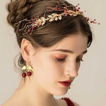 Bridal Headpiece Headband Hair-Accessories Flower Wedding-Red-Beads Gold Crystal