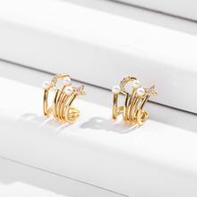 Modne złote kolczyki małe kółka dla kobiet moda Rhinestone ucha Huggies Pearl Moon Star Hollow koło kolczyki Brincos 2020 tanie tanio onekiss CN (pochodzenie) Ze stopu cynku Mężczyźni Hoop kolczyki TRENDY GEOMETRIC 21265 CZ Earrings Ear Huggies Small Ear Hoops