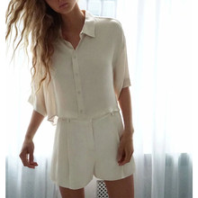 new summer suits women two piece set flowing satin soft short shirt tops & Glossy bermuda shorts loose wide leg(China)