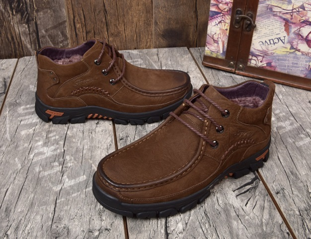 Mens New Style Lace-up Casual Boots Brand Fashion Mens Ankle Boot  Genuine Leather Breathable Plus Velvet Warm Oxfords For Men