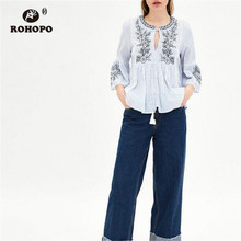 ROHOPO Patchaork Lace Embroidery Floral Vintage Cotton Ruffles Blouse Butterfly Sleeve Stripe Top Shirt #9297