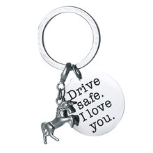 Drive Safe Key Chain with Unicorn Key Rings I Love You Keychain for Trucker Dad Husband Boyfriend Valentines Day Gift(China)