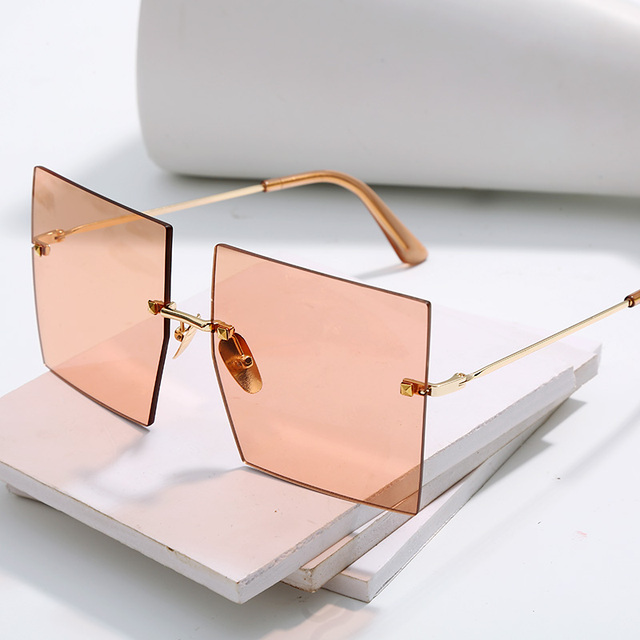 Oversized Rimless Square Sunglasses Women 2019 New Luxury Brand Fashion Flat Top Red Blue Clear Lens One Piece Men Gafas Glasses 8