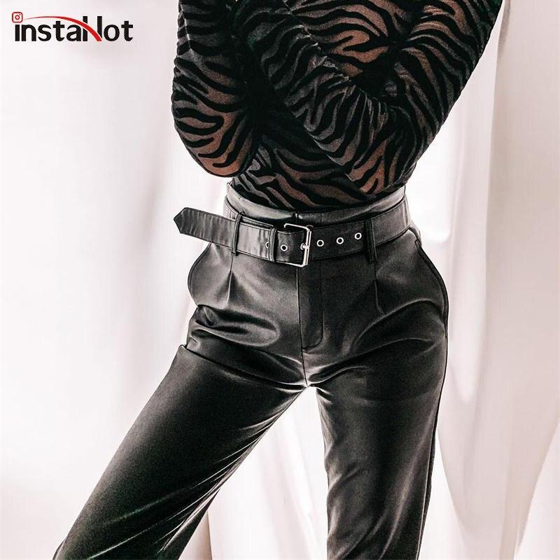 InstaHot Black Faux Leather Pants With Belt Elegant Casual Pencil Pants Women Autumn High Waist Office Ladies Vintage Trousers