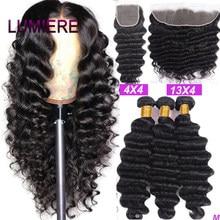 Lumiere cabelo solto onda profunda pacotes com fecho peruano feixes de cabelo com fechamento remy 100% feixes de cabelo humano com frontal