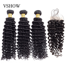 Brazilian Deep Wave Bundles With Closure 4*4 Free Part Lace 3 Bundles With Closure VSHOW Remy Human Hair Bundles With Closure