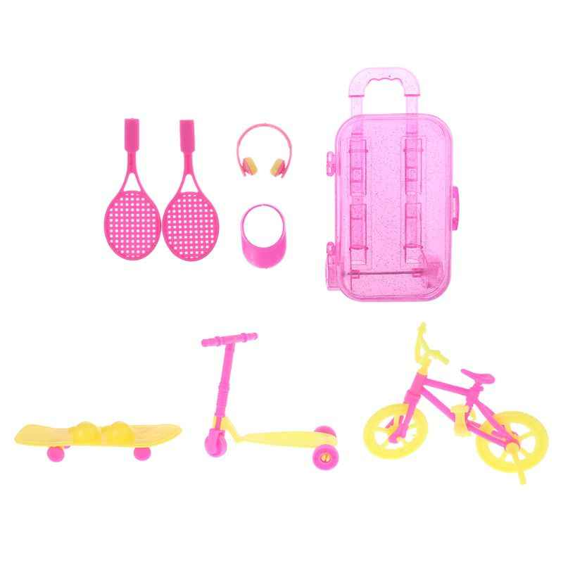 Children's Toys 7pcs/set Trolley Case Tennis Racket Earphone Sun Hat Scooter Skateboard Bicycle Miniatures Dollhouse Accessories